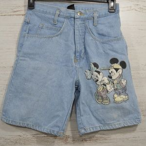 Disney Vintage High Waist Jean Shorts Mickey Small